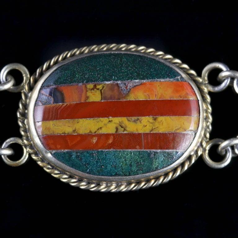 Antique Victorian Scottish Silver Gold Agate Bracelet, circa 1860 For Sale 2