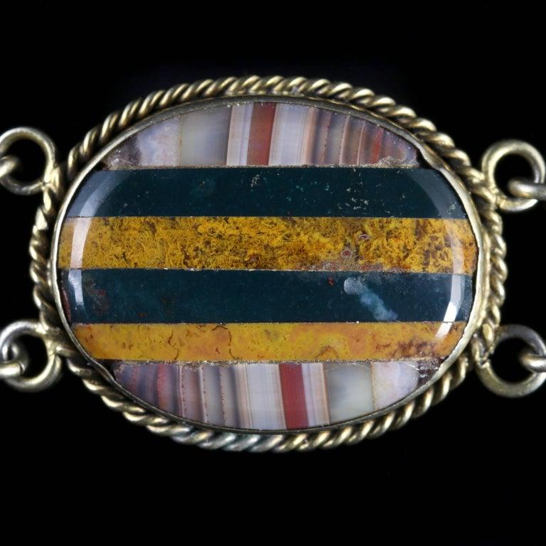 Antique Victorian Scottish Silver Gold Agate Bracelet, circa 1860 For Sale 3