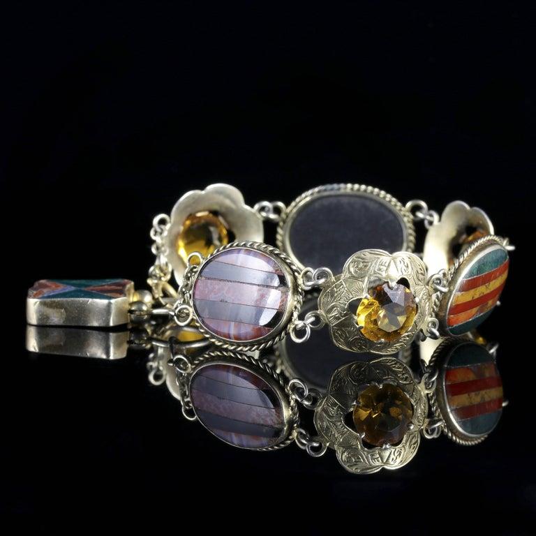 Women's Antique Victorian Scottish Silver Gold Agate Bracelet, circa 1860 For Sale