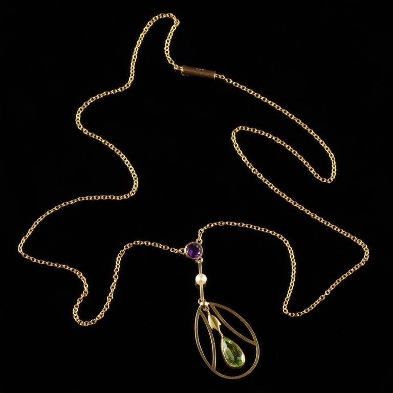 Antique Victorian Suffragette Pendant Necklace 15 Carat Gold, circa 1900 9