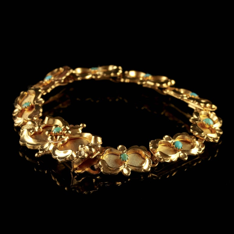 Victorian Turquoise Bracelet Gold Silver, circa 1880 For Sale 3