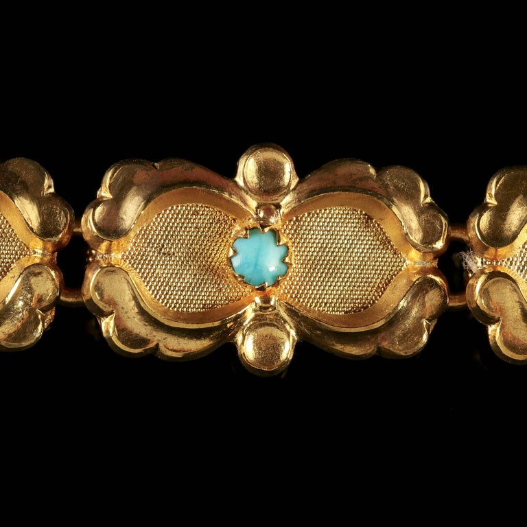 Women's Victorian Turquoise Bracelet Gold Silver, circa 1880 For Sale