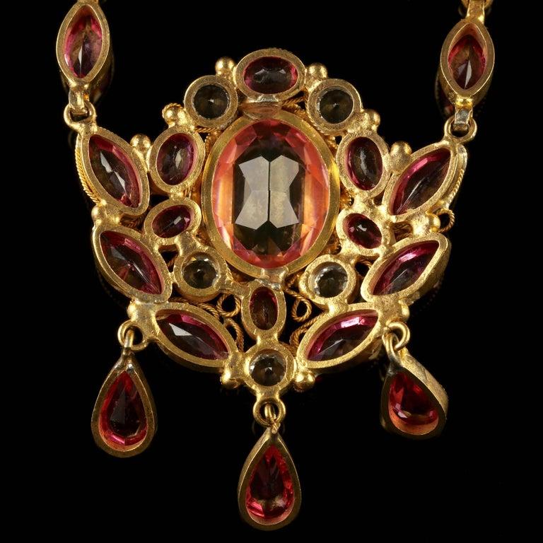 Women's Antique Victorian Pink Paste Necklace, circa 1870 For Sale