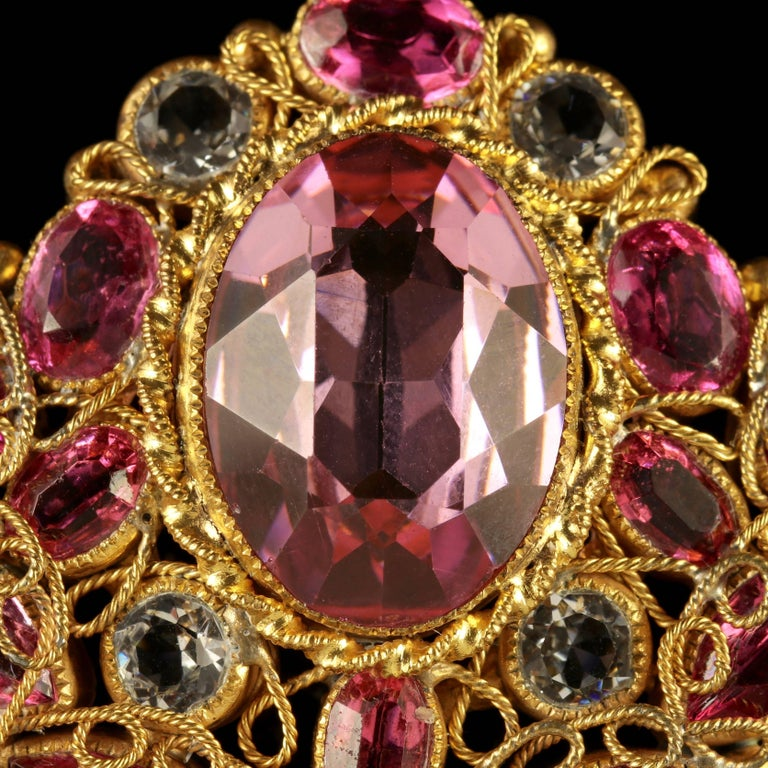 Antique Victorian Pink Paste Necklace, circa 1870 In Excellent Condition For Sale In Lancaster, Lancashire