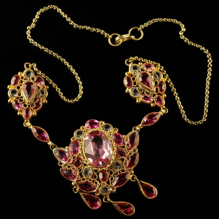 Antique Victorian Pink Paste Necklace, circa 1870 For Sale 5