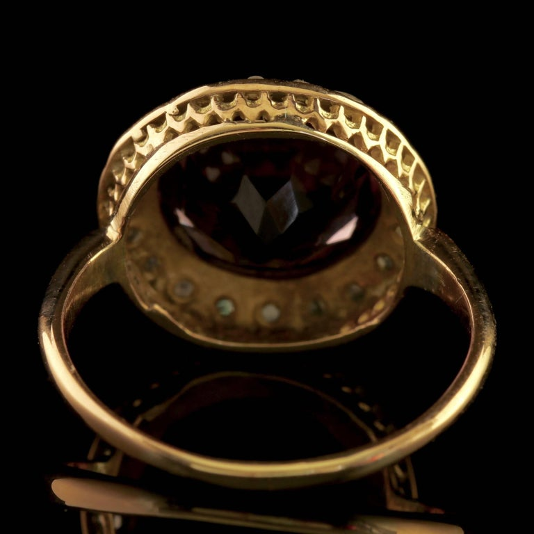 Women's Antique Victorian Amethyst Diamond Cluster Ring 18 Carat Gold For Sale