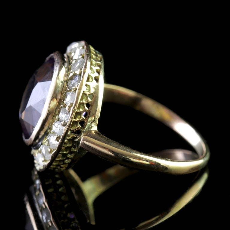 Antique Victorian Amethyst Diamond Cluster Ring 18 Carat Gold In Excellent Condition For Sale In Lancaster, Lancashire