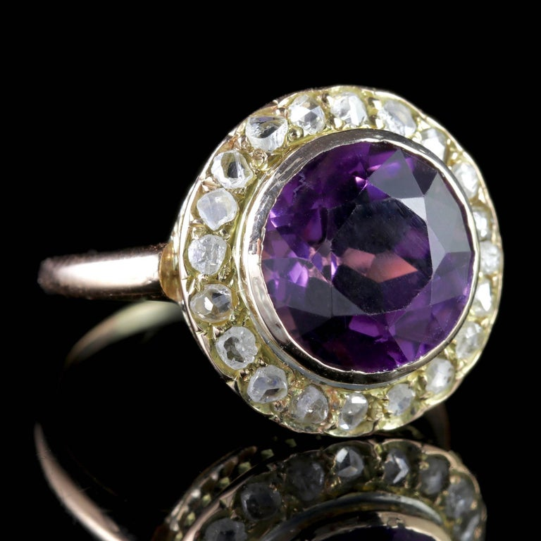 Antique Victorian Amethyst Diamond Cluster Ring 18 Carat Gold For Sale 1