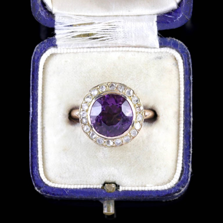 Antique Victorian Amethyst Diamond Cluster Ring 18 Carat Gold For Sale 2