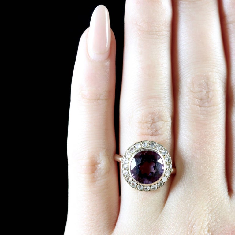 Antique Victorian Amethyst Diamond Cluster Ring 18 Carat Gold For Sale 3