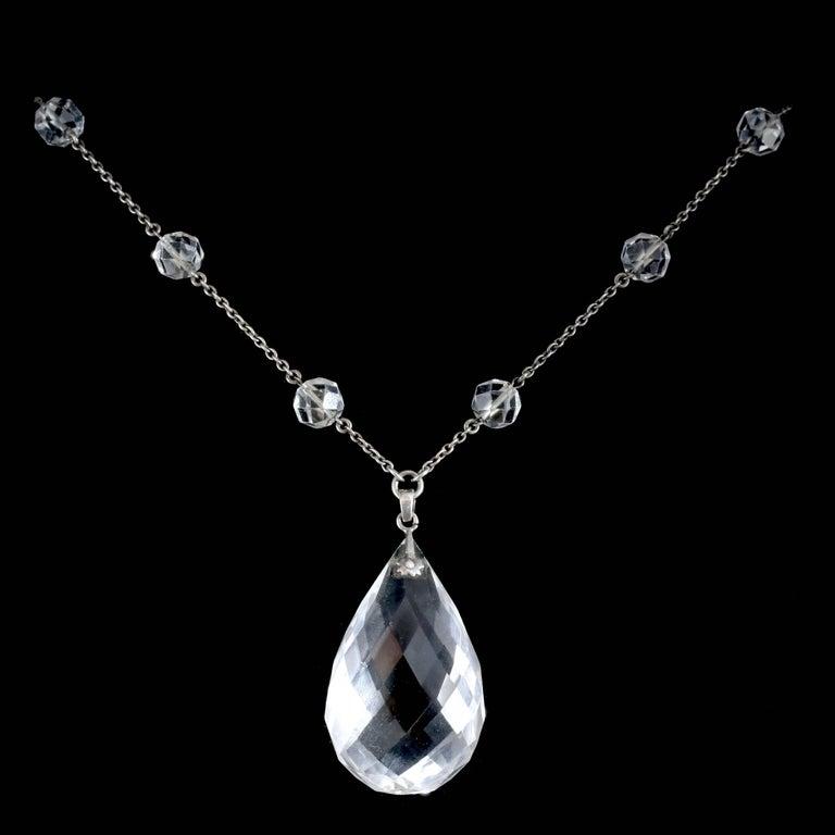 Antique Victorian Long Silver Rock Crystal Necklace Circa 1900 K Uyeda In Excellent Condition