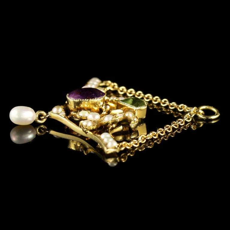 Antique Victorian 15 Carat Gold Suffragette Pendant, circa 1900 For Sale 2