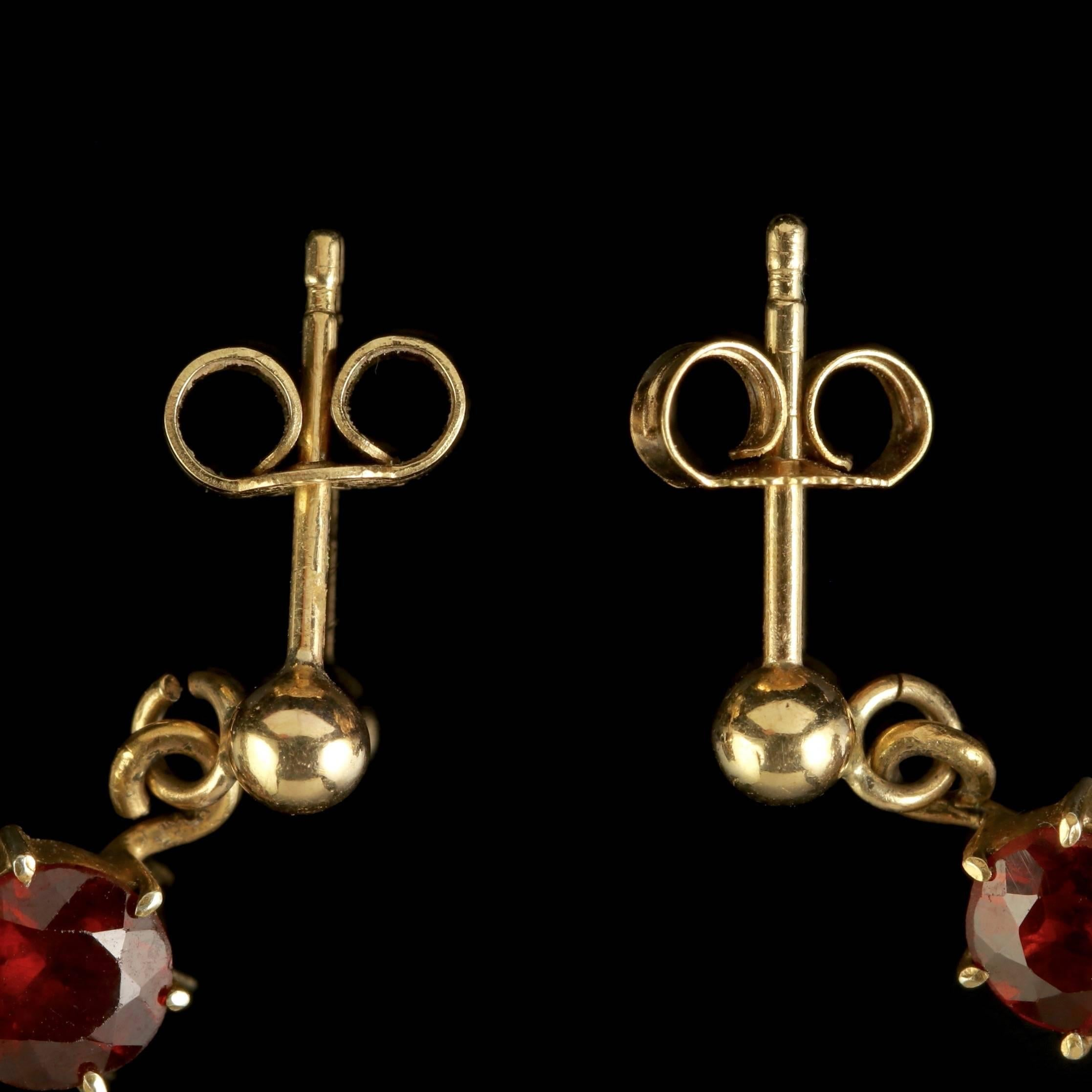 revival gold etruscan garnets antique ear pin victorian earrings pendants