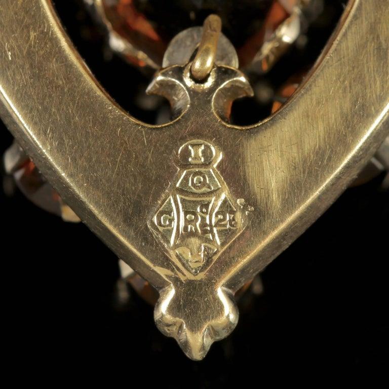 Antique Victorian Scottish Gold Cairngorm Shield Pendant, circa 1860 For Sale 1