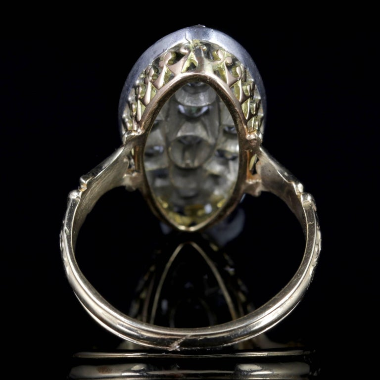 Antique Victorian Diamond Ring 18ct Gold Marquise 3ct Diamonds Circa 1880 In Excellent Condition For Sale In Lancaster, Lancashire