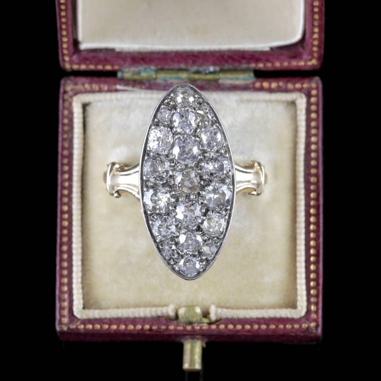 Antique Victorian Diamond Ring 18ct Gold Marquise 3ct Diamonds Circa 1880 For Sale 2