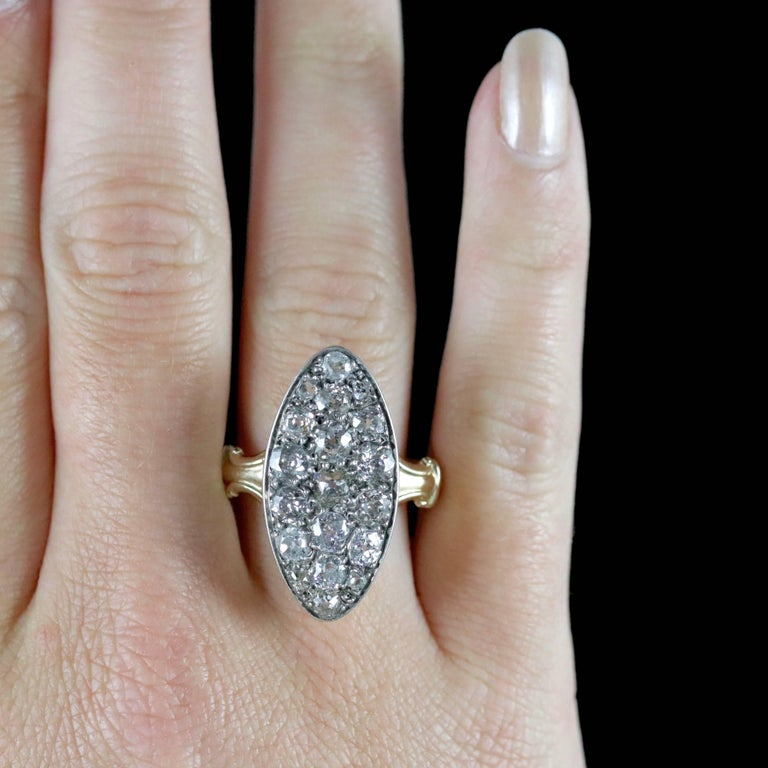 Antique Victorian Diamond Ring 18ct Gold Marquise 3ct Diamonds Circa 1880 For Sale 3