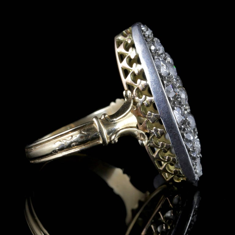 Women's Antique Victorian Diamond Ring 18ct Gold Marquise 3ct Diamonds Circa 1880 For Sale