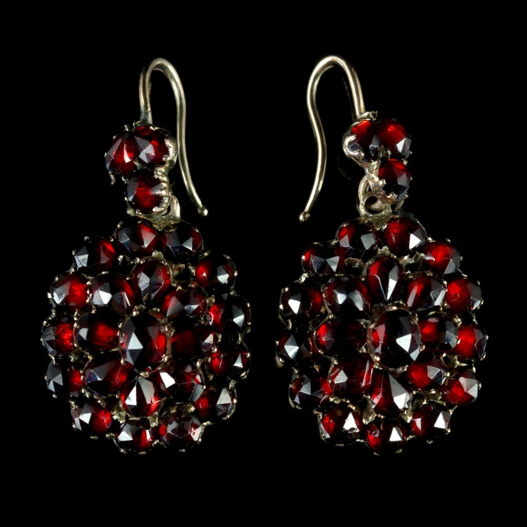 These Fabulous Victorian Bohemian Garnet Earrings Are Circa 1880 The Wonderful Pair Adorned With