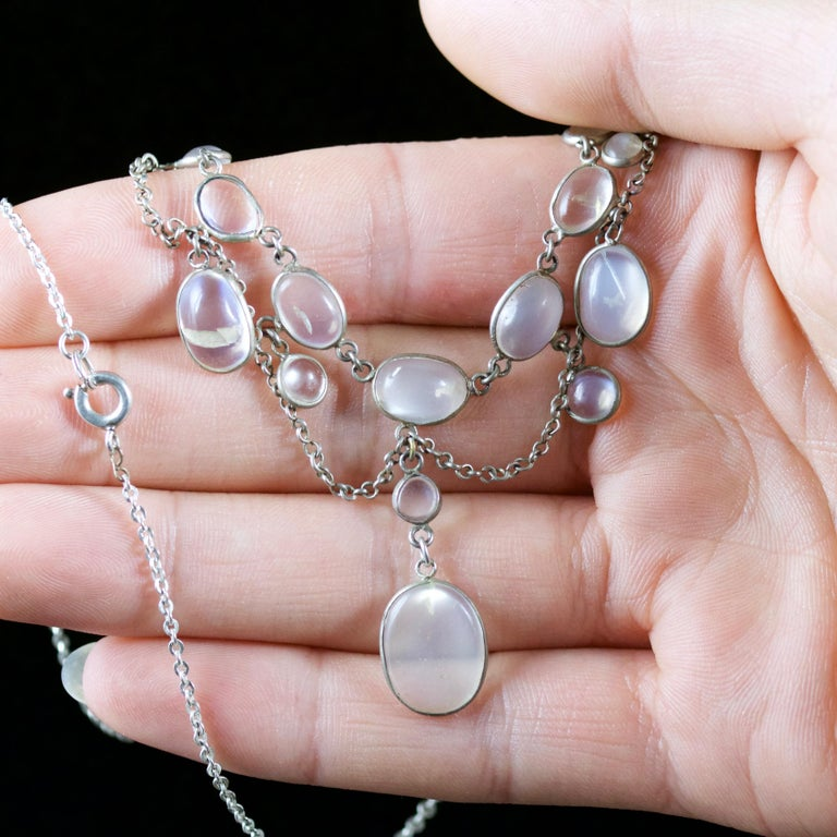 Antique Victorian Moonstone Necklace Garland Silver, circa 1880 For Sale 3