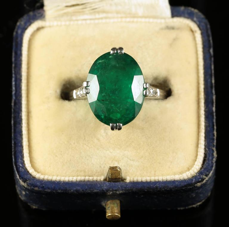 Antique Edwardian Emerald Diamond Ring Platinum 7 5 Carat