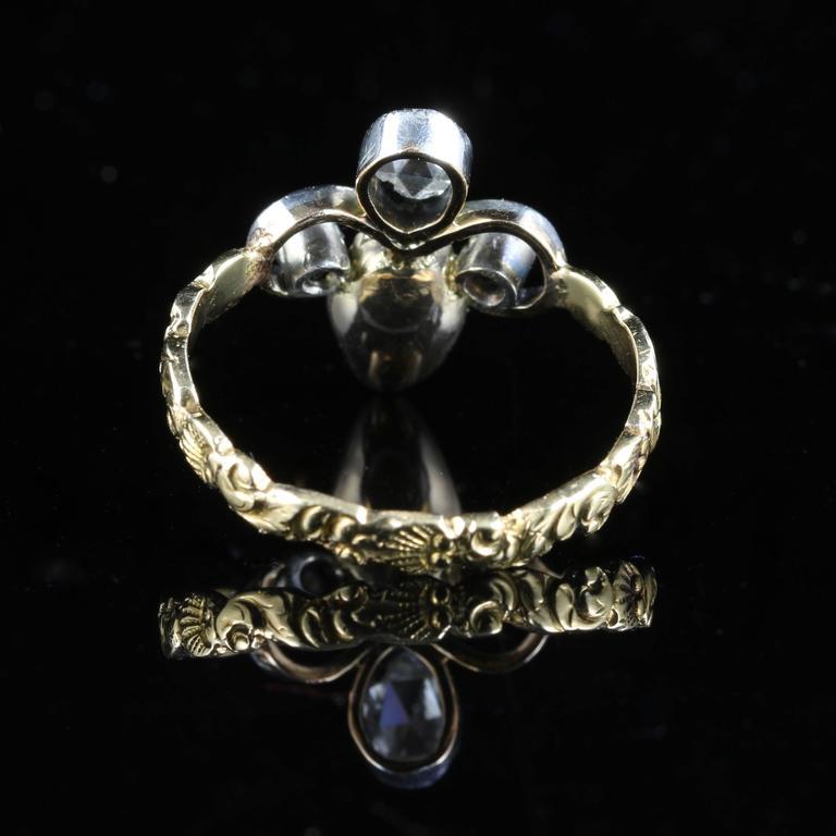 antique georgian garnet ring 18 carat gold fleur