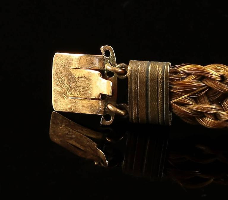 Women's or Men's Antique Georgian Mourning Bracelet with Pearl Clasp, circa 1800 For Sale