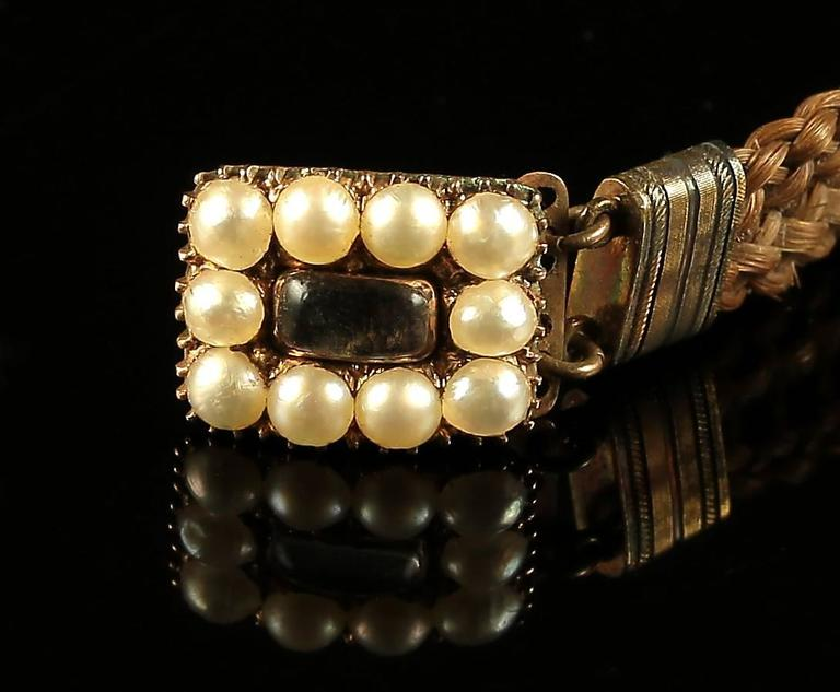 Antique Georgian Mourning Bracelet with Pearl Clasp, circa 1800 For Sale 2
