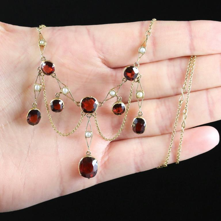 Antique Victorian Garnet Pearl Yellow Gold Lavaliere Necklace For Sale 3