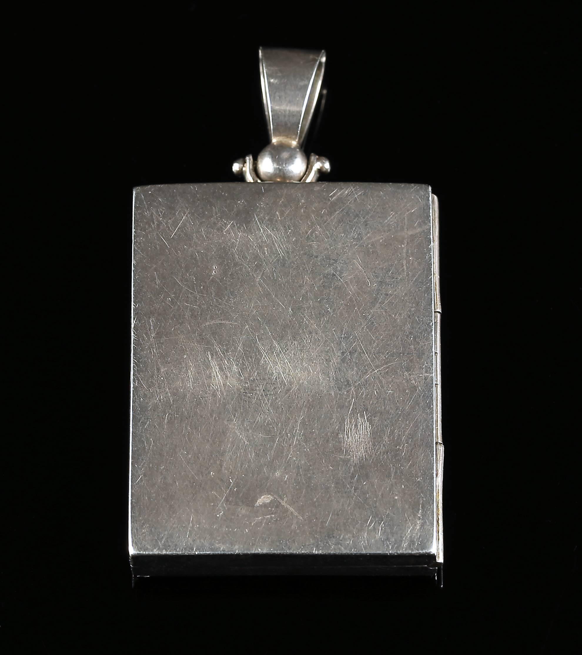 pendant jewelry silver sterling glass locket keepsake square lockets necklace pin swivel