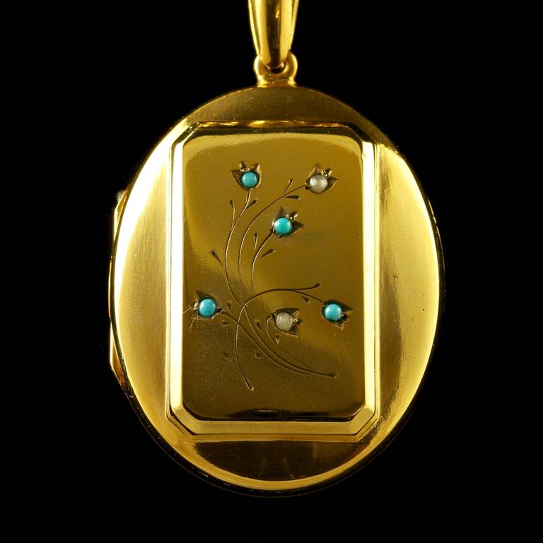 Antique Victorian Turquoise Gold Locket and Necklace 2