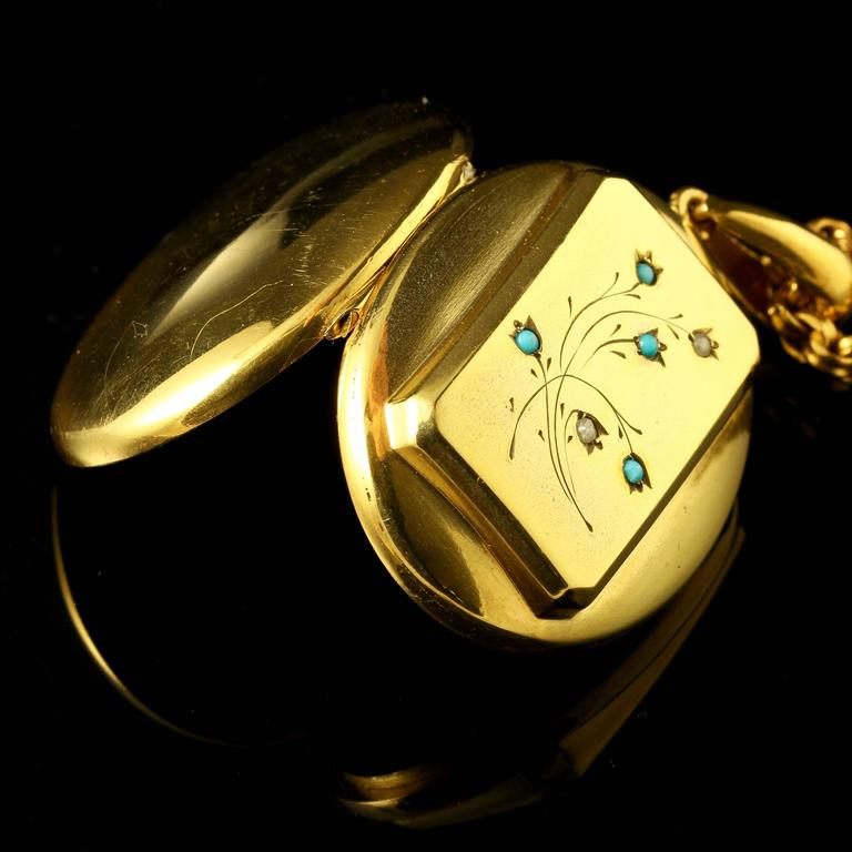 Women's Antique Victorian Turquoise Gold Locket and Necklace For Sale