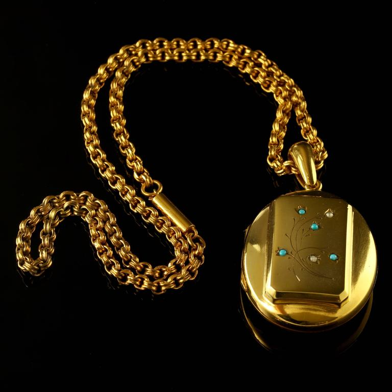 Antique Victorian Turquoise Gold Locket and Necklace 6