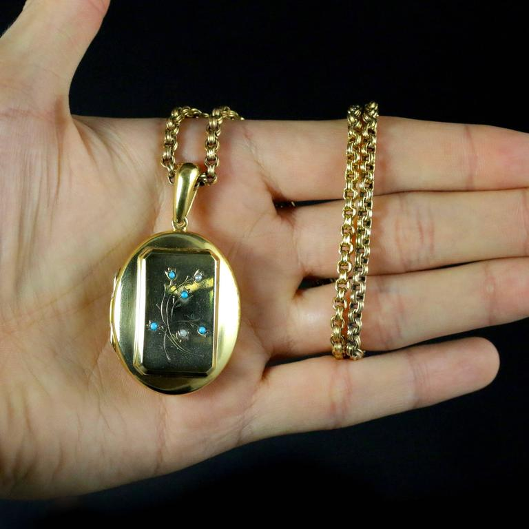 Antique Victorian Turquoise Gold Locket and Necklace For Sale 4