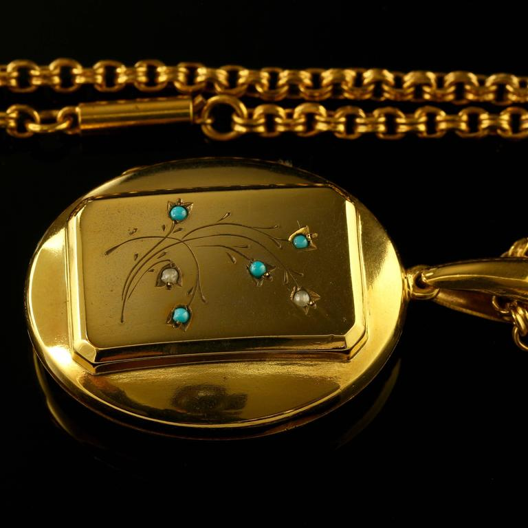 Antique Victorian Turquoise Gold Locket and Necklace For Sale 3