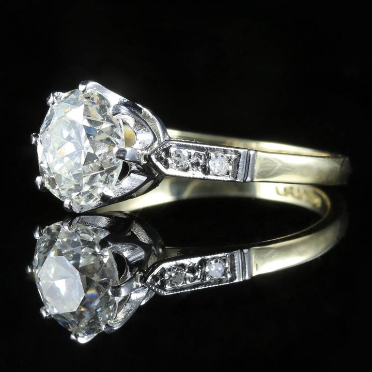 Antique Edwardian Diamond Yellow Gold Platinum Solitaire Engagement Ring  In Excellent Condition For Sale In Lancaster, GB