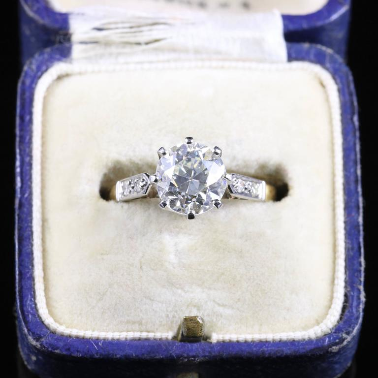 Antique Edwardian Diamond Yellow Gold Platinum Solitaire Engagement Ring  For Sale 1