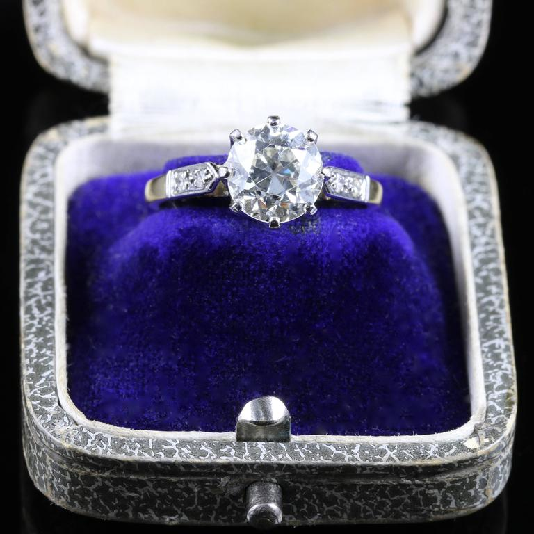 Antique Edwardian Diamond Yellow Gold Platinum Solitaire Engagement Ring  For Sale 2