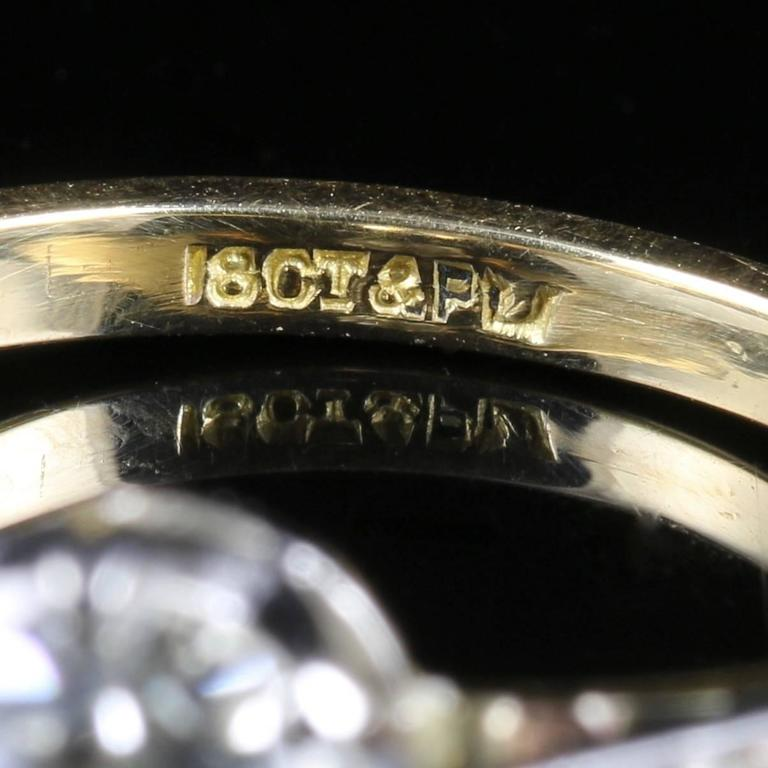 Antique Edwardian Diamond Yellow Gold Platinum Solitaire Engagement Ring  For Sale 3