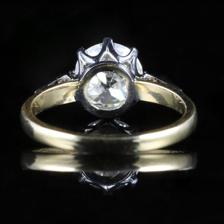 Antique Edwardian Diamond Yellow Gold Platinum Solitaire Engagement Ring  For Sale 4