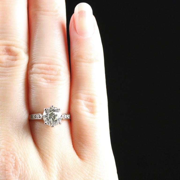 Antique Edwardian Diamond Yellow Gold Platinum Solitaire Engagement Ring  For Sale 5