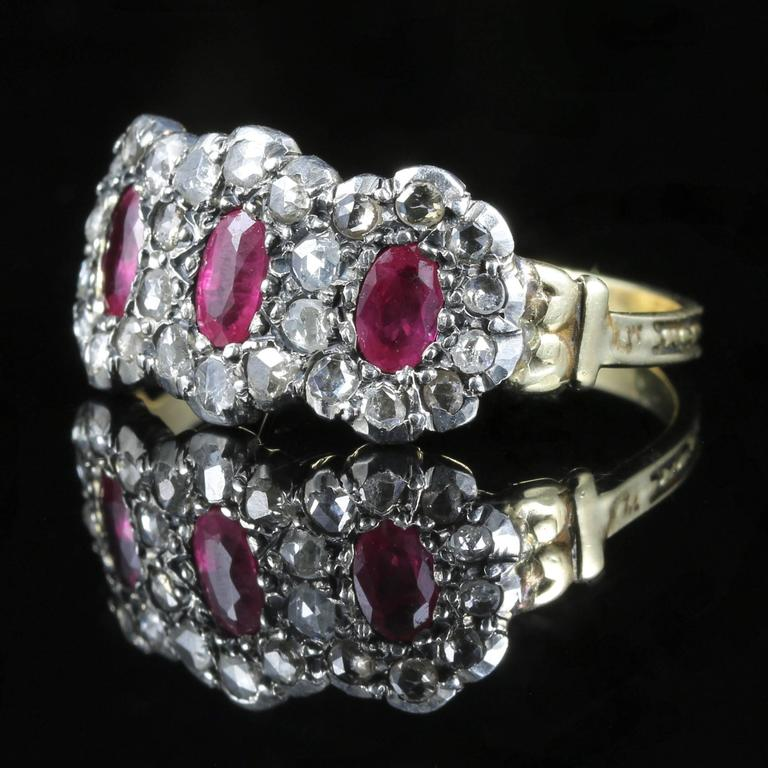 Rose Cut Antique Georgian Ruby Diamond Triple Cluster Ring For Sale