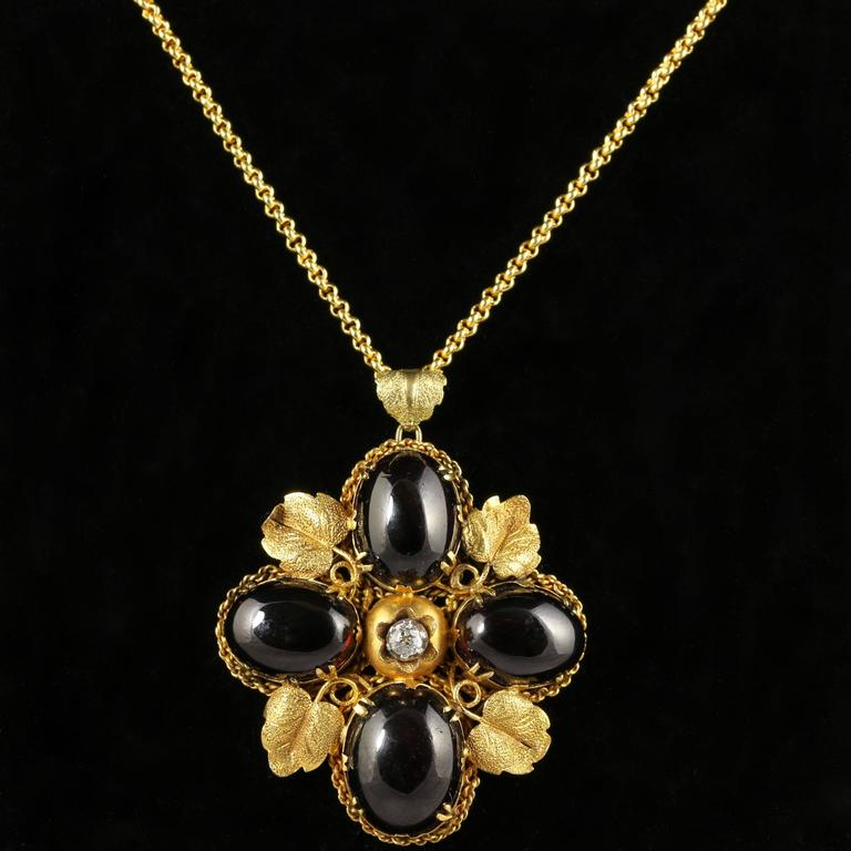 Antique victorian garnet diamond gold pendant necklace circa 1900 this is beautiful a genuine victorian solid 18ct yellow gold large garnet pendant which is aloadofball Choice Image