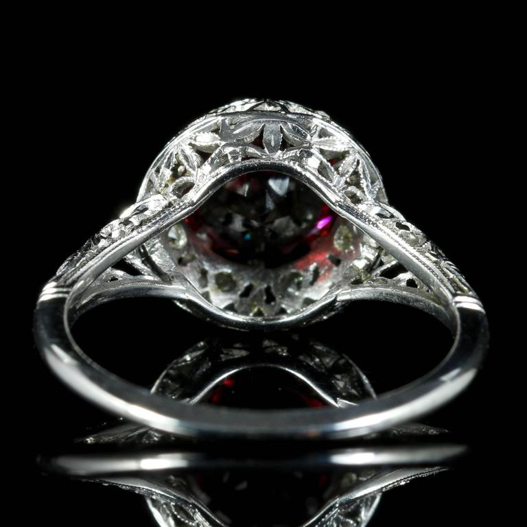 Women's Antique Edwardian Platinum Garnet Diamond Ring, circa 1920 For Sale