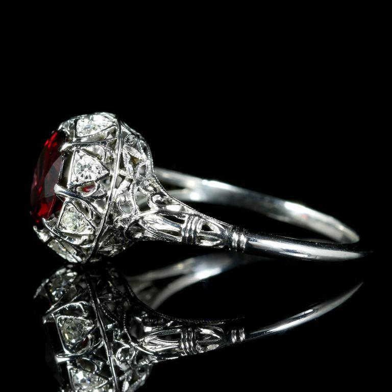Antique Edwardian Platinum Garnet Diamond Ring, circa 1920 3