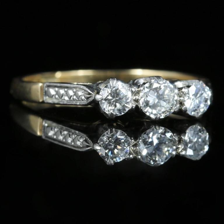 Antique Edwardian Diamond Trilogy Engagement Ring, circa 1915 4
