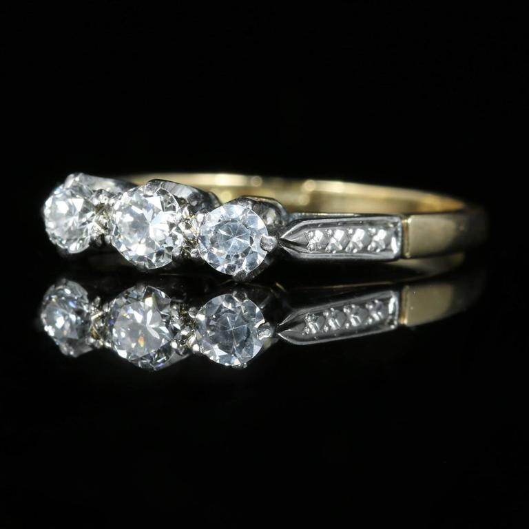 Antique Edwardian Diamond Trilogy Engagement Ring, circa 1915 2
