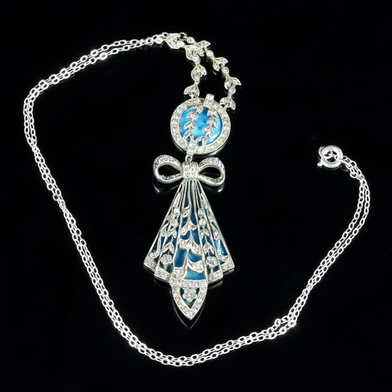 Antique Art Deco Silver Blue Enamel Pendant Necklace For Sale 5