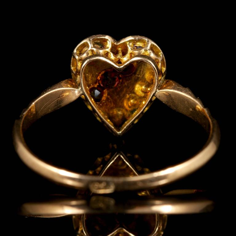 Antique Victorian Ruby Pearl Yellow Gold Heart Ring at 1stdibs