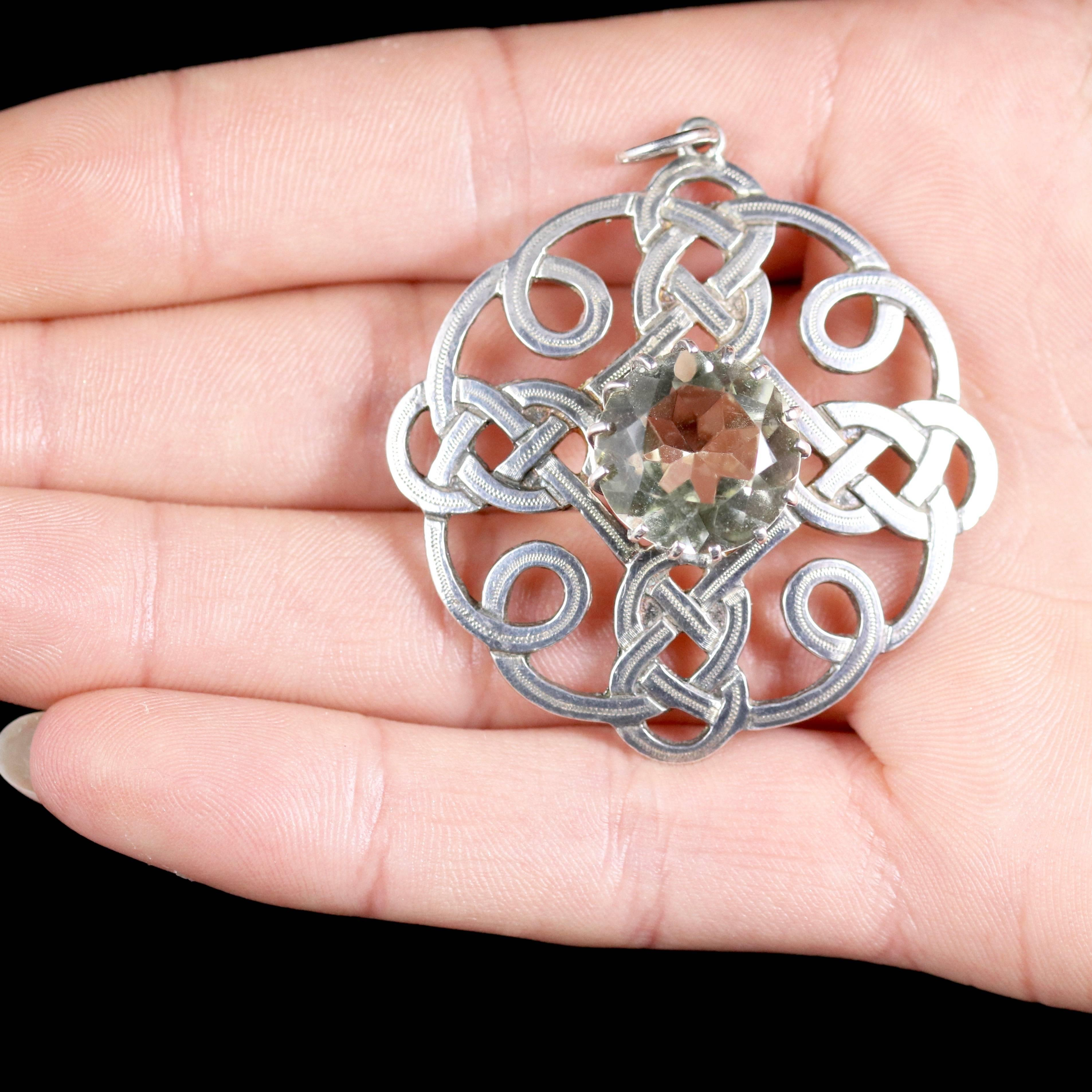 Antique scottish silver pendant citrine stone celtic at 1stdibs aloadofball Gallery